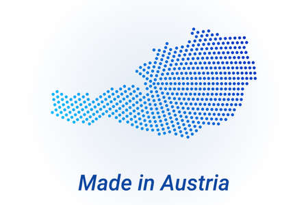 Map icon of Austria. Vector illustration with text Made in Austria. Blue halftone dots background. Round pixels. Modern digital graphic design.
