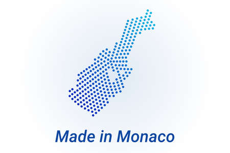 Map icon of Monaco. Vector illustration with text Made in Monaco. Blue halftone dots background. Round pixels. Modern digital graphic design