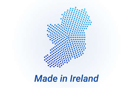 Map icon of Ireland. Vector illustration with text Made in Ireland. Blue halftone dots background. Round pixels. Modern digital graphic design. Stock Illustratie