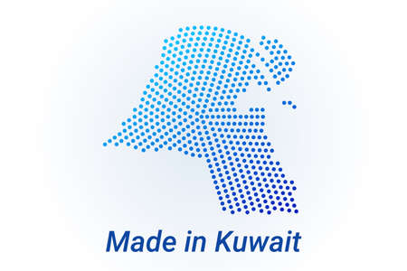 Map icon of Kuwait. Vector illustration with text Made in Kuwait. Blue halftone dots background. Round pixels. Modern digital graphic design.