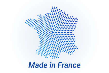 Map icon of France  illustration with text Made in France. Blue halftone dots background. Round pixels. Modern digital graphic design. Light white backdrop Иллюстрация