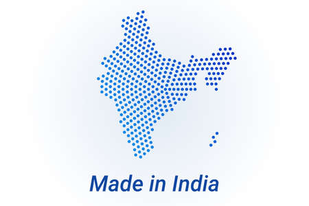 Map icon of India  illustration with text Made in India. Blue halftone dots background. Round pixels. Modern digital graphic design. Light white backdrop Иллюстрация