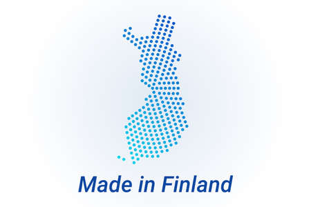 Map icon of Finland illustration with text Made in Finland. Blue halftone dots background. Round pixels. Modern digital graphic design. Light white backdrop