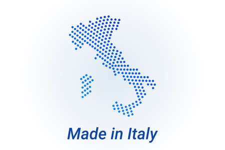 Map icon of Italy  illustration with text Made in Italy. Blue halftone dots background. Round pixels. Modern digital graphic design. Light white backdrop Иллюстрация