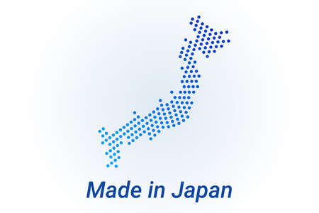 Map icon of Japan illustration with text Made in Japan. Blue halftone dots background. Round pixels. Modern digital graphic design. Light white backdrop