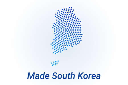 Map icon of South Korea illustration with text Made in South Korea. Blue halftone dots background. Round pixels. Modern digital graphic design. Light white backdrop Иллюстрация