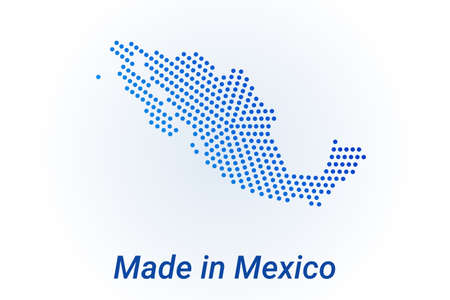 Map icon of Mexico illustration with text Made in Mexico. Blue halftone dots background. Round pixels. Modern digital graphic design. Light white backdrop Иллюстрация