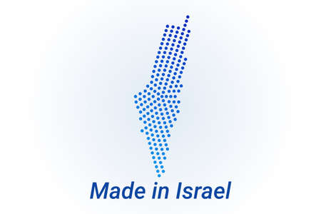 Map icon of Israel illustration with text Made in Israel. Blue halftone dots background. Round pixels. Modern digital graphic design. Light white backdrop