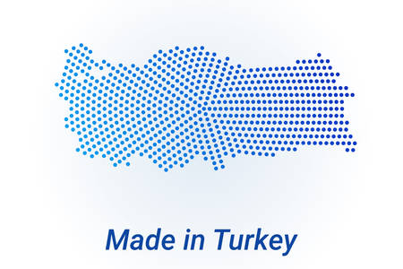 Map icon of Turkey illustration with text Made in Turkey. Blue halftone dots background. Round pixels. Modern digital graphic design. Light white backdrop