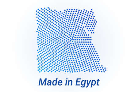 Map icon of Egypt illustration with text Made in Egypt. Blue halftone dots background. Round pixels. Modern digital graphic design. Light white backdrop
