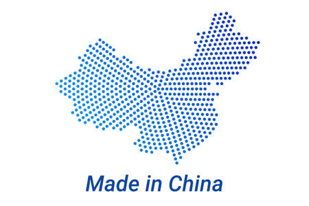 Map icon of China illustration with text Made in China. Blue halftone dots background. Round pixels. Modern digital graphic design. Light white backdrop Иллюстрация