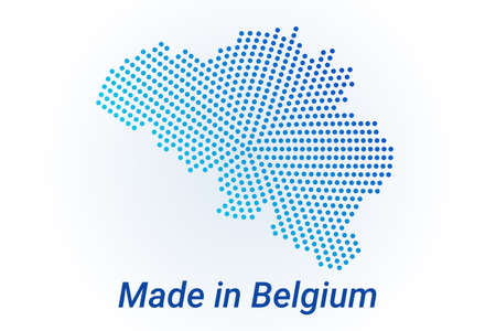 Map icon of Belgium illustration with text Made in Belgium. Blue halftone dots background. Round pixels. Modern digital graphic design. Light white backdrop Иллюстрация