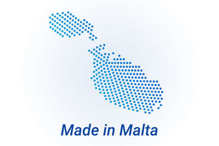 Map icon of Malta  illustration with text Made in Malta. Blue halftone dots background. Round pixels. Modern digital graphic design. Light white backdrop Иллюстрация