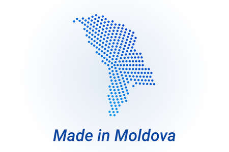 Map icon of Moldova illustration with text Made in Moldova. Blue halftone dots background. Round pixels. Modern digital graphic design. Light white backdrop