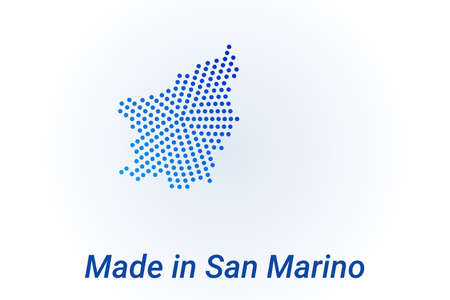 Map icon of San Marino illustration with text Made in San Marino. Blue halftone dots background. Round pixels. Modern digital graphic design. Light white backdrop Иллюстрация