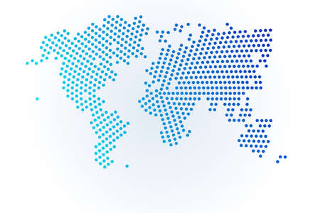 Map icon of World illustration. Blue halftone dots background. Round pixels. Modern digital graphic design. Light white backdrop