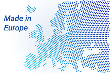 Map icon of Europe illustration with text Made in Europe. Blue halftone dots background. Round pixels. Modern digital graphic design. Light white backdrop