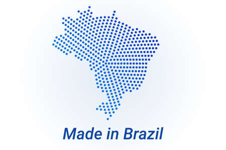 Map icon of Brazil illustration with text Made in Brazil. Blue halftone dots background. Round pixels. Modern digital graphic design. Light white backdrop Иллюстрация