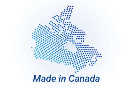 Map icon of Canada illustration with text Made in Canada. Blue halftone dots background. Round pixels. Modern digital graphic design. Light white backdrop Иллюстрация