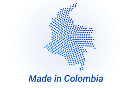 Map icon of Colombia  illustration with text Made in Colombia. Blue halftone dots background. Round pixels. Modern digital graphic design. Light white backdrop Иллюстрация