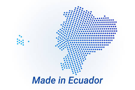 Map icon of Ecuador  illustration with text Made in Ecuador. Blue halftone dots background. Round pixels. Modern digital graphic design. Light white backdrop Иллюстрация