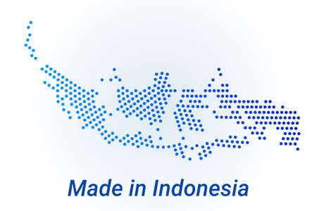Map icon of Indonesia  illustration with text Made in Indonesia. Blue halftone dots background. Round pixels. Modern digital graphic design. Light white backdrop Иллюстрация