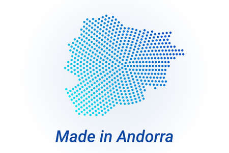 Map icon of Andorra  illustration with text Made in Andorra. Blue halftone dots background. Round pixels. Modern digital graphic design. Light white backdrop