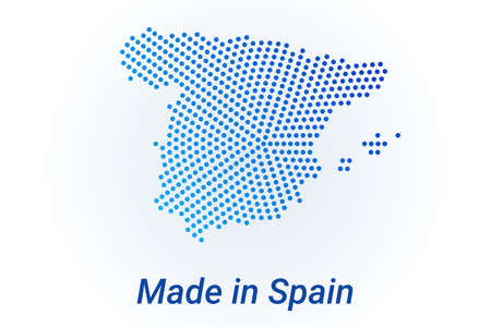 Map icon of Spain illustration with text Made in Spain. Blue halftone dots background. Round pixels. Modern digital graphic design. Light white backdrop Иллюстрация