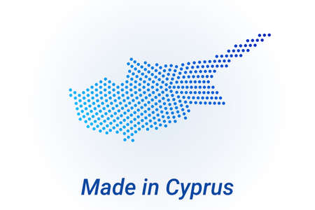Map icon of Cyprus  illustration with text Made in Cyprus. Blue halftone dots background. Round pixels. Modern digital graphic design. Light white backdrop
