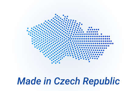 Map icon of Czech Republic  illustration with text Made in Czech Republic. Blue halftone dots background. Round pixels. Modern digital graphic design. Light white backdrop
