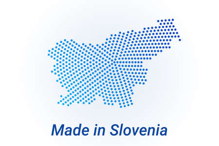 Map icon of Slovenia. illustration with text Made in Slovenia. Blue halftone dots background. Round pixels. Modern digital graphic design. Light white backdrop