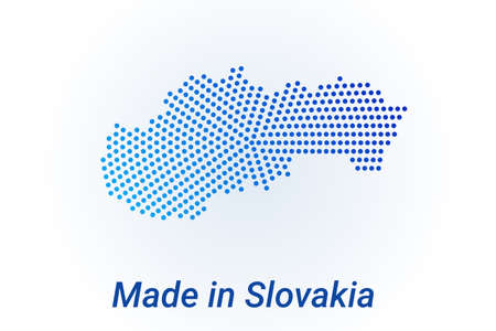 Map icon of Slovakia. illustration with text Made in Slovakia. Blue halftone dots background. Round pixels. Modern digital graphic design. Light white backdrop Ilustracja