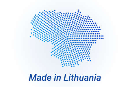 Map icon of Lithuania.  illustration with text Made in Lithuania. Blue halftone dots background. Round pixels. Modern digital graphic design. Light white backdrop