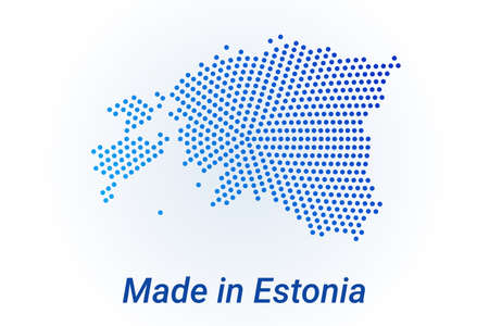 Map icon of Estonia illustration with text Made in Estonia. Blue halftone dots background. Round pixels. Modern digital graphic design. Light white backdrop