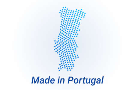 Map icon of Portugal illustration with text Made in Portugal. Blue halftone dots background. Round pixels. Modern digital graphic design. Light white backdrop