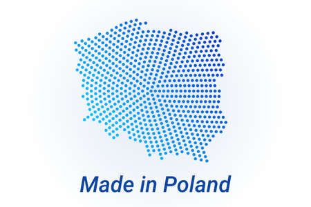 Map icon of Poland illustration with text Made in Poland. Blue halftone dots background. Round pixels. Modern digital graphic design. Light white backdrop Ilustracja