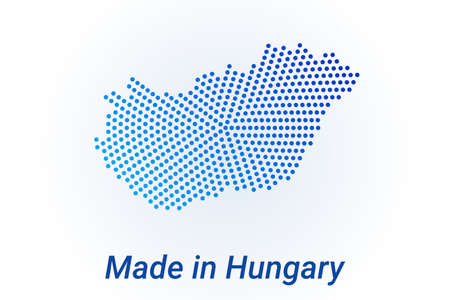 Map icon of Hungary illustration with text Made in Hungary. Blue halftone dots background. Round pixels. Modern digital graphic design. Light white backdrop