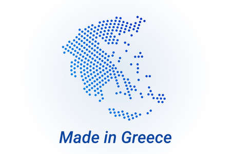 Map icon of Greece  illustration with text Made in Greece. Blue halftone dots background. Round pixels. Modern digital graphic design. Light white backdrop Ilustracja