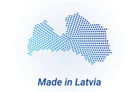Map icon of Latvia  illustration with text Made in Latvia. Blue halftone dots background. Round pixels. Modern digital graphic design. Light white backdrop