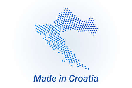 Map icon of Croatia illustration with text Made in Croatia. Blue halftone dots background. Round pixels. Modern digital graphic design. Light white backdrop