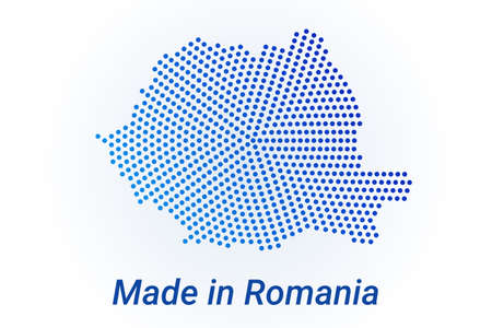 Map icon of Romania  illustration with text Made in Romania. Blue halftone dots background. Round pixels. Modern digital graphic design. Light white backdrop Ilustracja