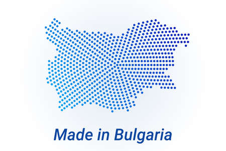 Map icon of Bulgaria  illustration with text Made in Bulgaria. Blue halftone dots background. Round pixels. Modern digital graphic design. Light white backdrop Иллюстрация