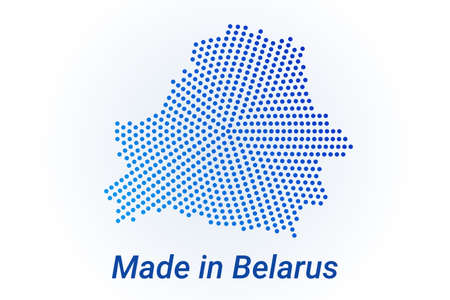 Map icon of Belarus illustration with text Made in Belarus. Blue halftone dots background. Round pixels. Modern digital graphic design. Light white backdrop