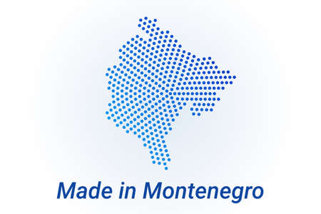Map icon of Montenegro  illustration with text Made in Montenegro. Blue halftone dots background. Round pixels. Modern digital graphic design. Light white backdrop Ilustracja