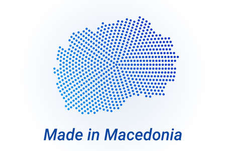 Map icon of Macedonia  illustration with text Made in Macedonia. Blue halftone dots background. Round pixels. Modern digital graphic design. Light white backdrop