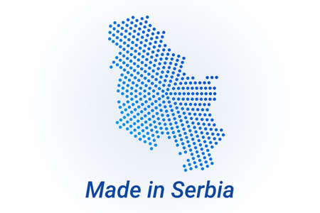 Map icon of Serbia  illustration with text Made in Serbia. Blue halftone dots background. Round pixels. Modern digital graphic design. Light white backdrop Ilustracja