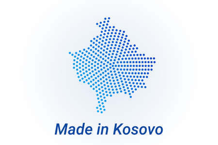 Map icon of Kosovo  illustration with text Made in Kosovo. Blue halftone dots background. Round pixels. Modern digital graphic design. Light white backdrop Иллюстрация