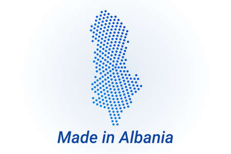 Map icon of Albania  illustration with text Made in Albania. Blue halftone dots background. Round pixels. Modern digital graphic design. Light white backdrop