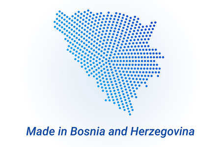 Map icon of Bosnia and Herzegovina  illustration with text Made in Bosnia and Herzegovina. Blue halftone dots background. Round pixels. Modern digital graphic design. Light white backdrop Иллюстрация