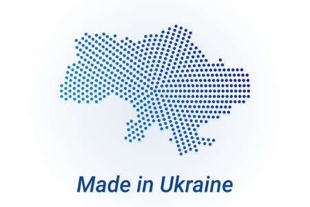 Map icon of Ukraine  illustration with text Made in Ukraine. Blue halftone dots background. Round pixels. Modern digital graphic design. Light white backdrop